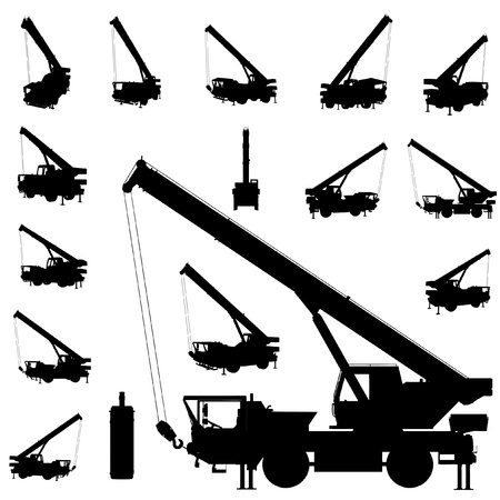 wheeled tractor: vector mobile crane silhouette set Illustration