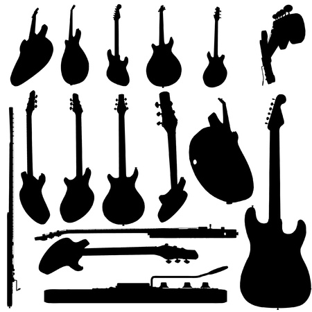 electric guitar silhouette set Vector