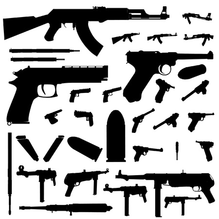 bullet hole: weapon silhouette set