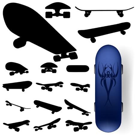 vector skateboard silhouet, instellen,