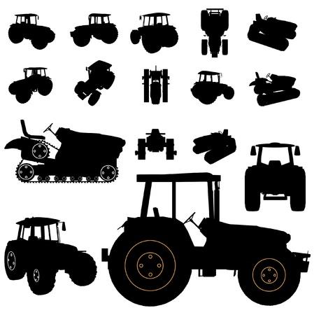 tractores: conjunto de silueta de tractor Vectores