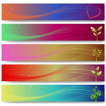 abstract banner set with plants
