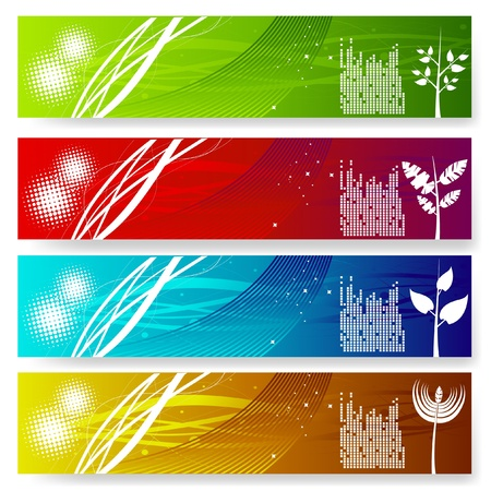 four vector colorful banner set Stock Vector - 10592836