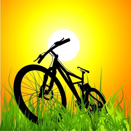 Mountainbike auf Sonnenuntergang