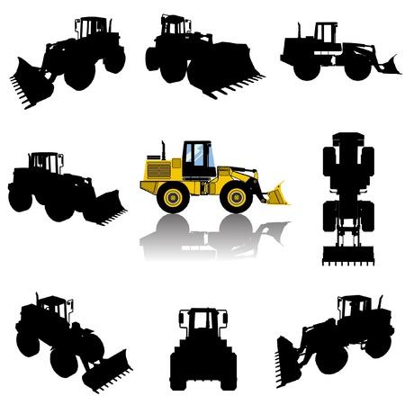 construction machine silhouette set  Vector