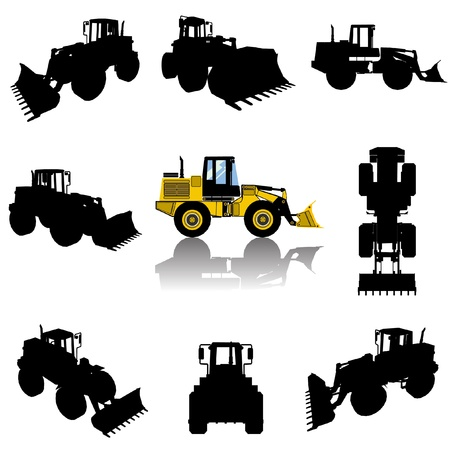 bulldozer: construction machine silhouette set