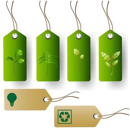 compact fluorescent lightbulb: Set of green eco product tags Illustration
