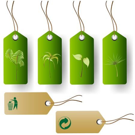 environmentalism: Set of green eco product tags Illustration