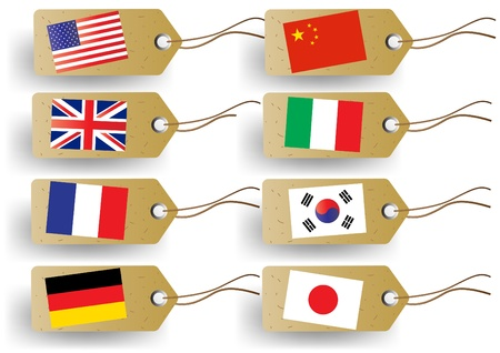 korea flag: tags with national flags Illustration
