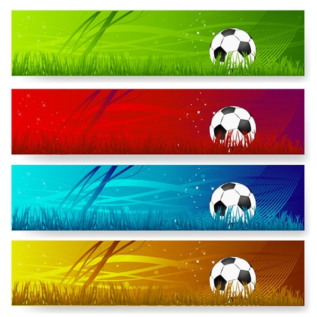 four multi colored soccer banners
