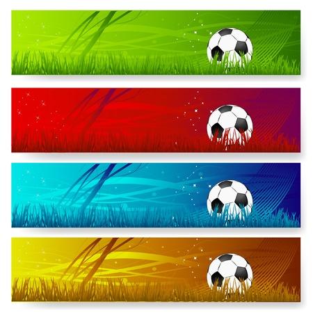 bannière football: quatre multi-bannières de soccer de couleur Illustration