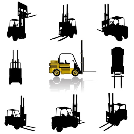 industrial machine: forklift silhouette set