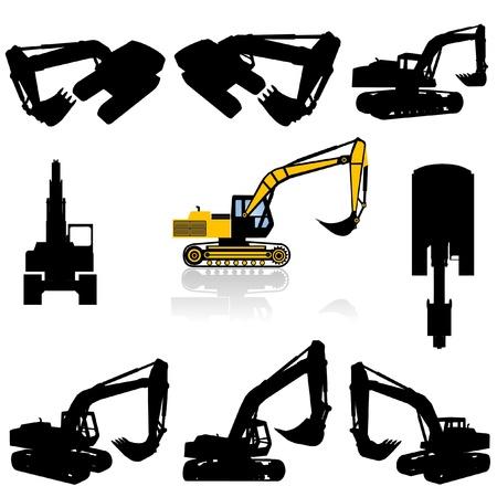 equipos trabajo: conjunto de silueta de m�quina de construcci�n  Vectores