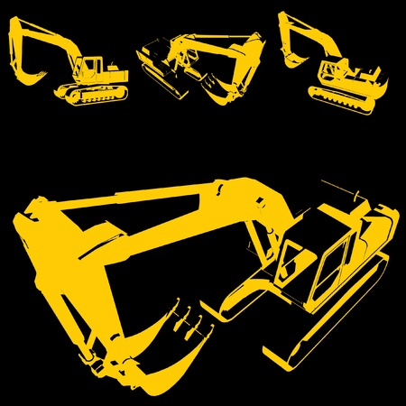 heavy construction: construction machine silhouette set