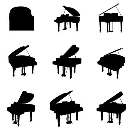 piano: silueta vector de piano conjunto