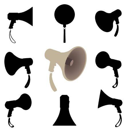 Megaphone silhouette set Illustration