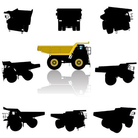 vector big truck silhouette set  Vector