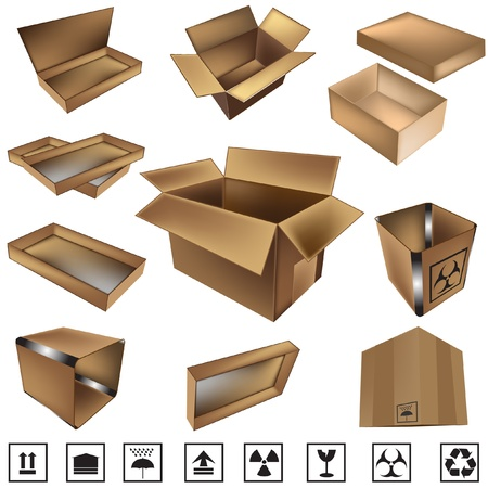 dampness: vector shipping box and icons