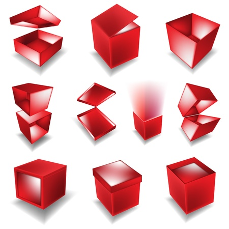 giftboxes: red giftbox set  Illustration