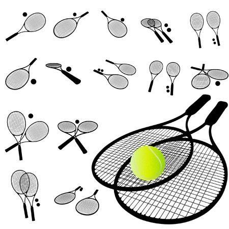 Tennis Racket silhouette set Stock Vector - 10592859