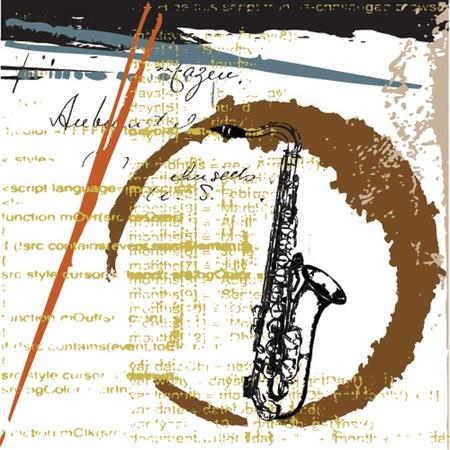 saxofon: Fondo del grunge musical Vectores