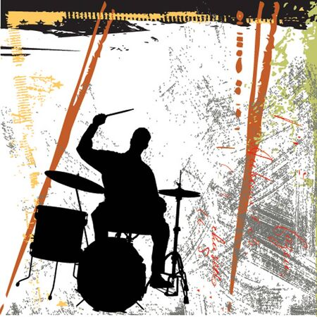 musician silhouette: grunge background