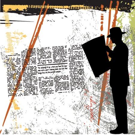 old people reading: grunge background