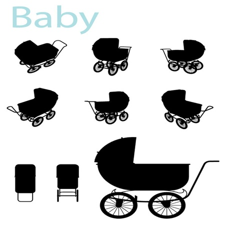 nursing mother: Vector Baby Carriage Silhouette set Illustration