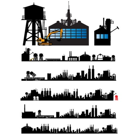 old new york: City and Old Factory silhouette set Illustration