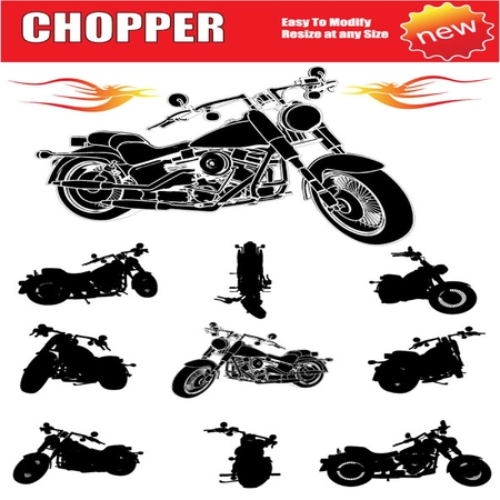 chopper motorcycle set Vector