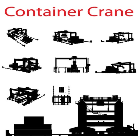 container ship: Vector Container Crane Silhouette Set