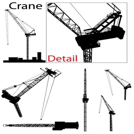 construction crane: Vector Construction Crane Silhouette Set