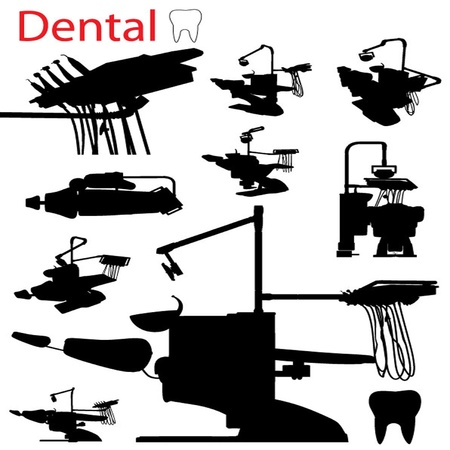 vector chair: Vector Dental Arm Chair silhouette Set Illustration