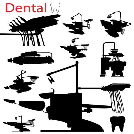 sillon dental: Vector silueta Sill�n Dental Arm Set