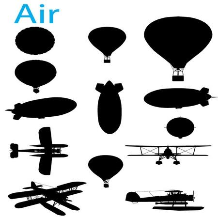 hidrógeno: Vector Vintage Aviación Silueta Conjunto Vectores