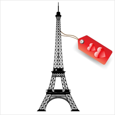 famous painting: vector eiffel tower Illustration
