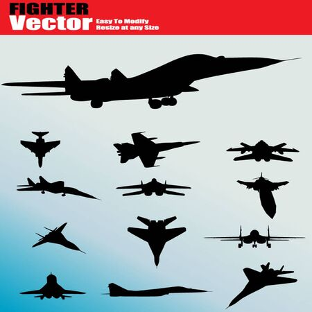 air war: Vintage Plane fighter Silhouette Set Illustration