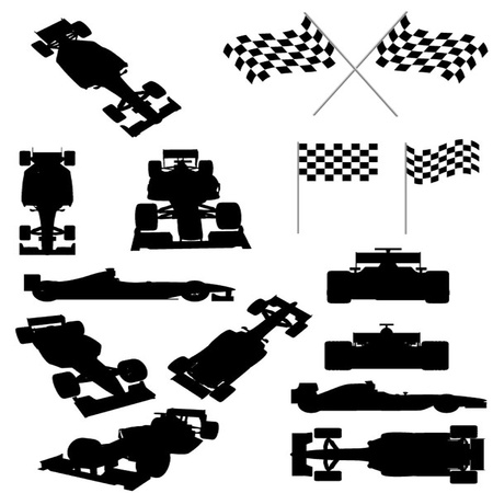 car side view: Racing Car Silhouette Set