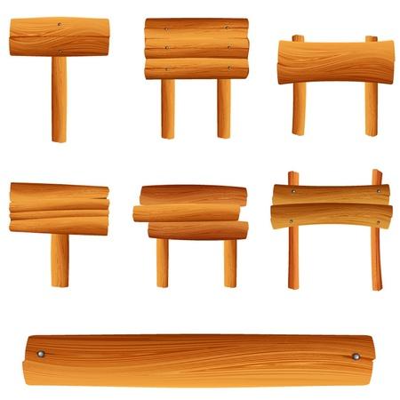 wooden post: conjunto de vectores cartel de madera