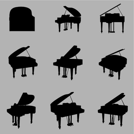 vector piano silhouette set