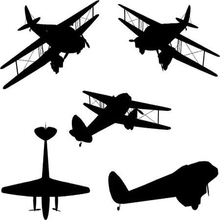 Vintage Plane Silhouette Set Illustration