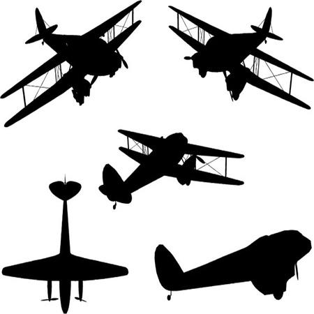 Vintage Plane Silhouette Set Illustration