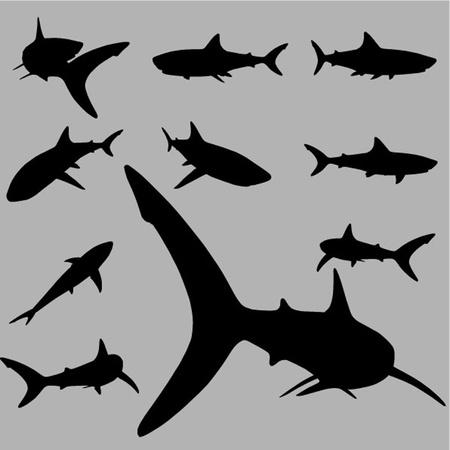 Fisch Silhouette Set Illustration