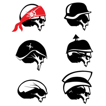 Vector Skull Silhouette Set Vector