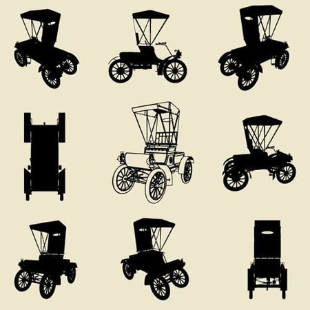 old fashioned: vector old car silhouette set Illustration