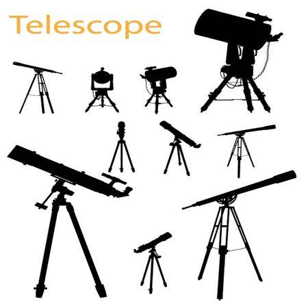 Vector Telescope Silhouette Set