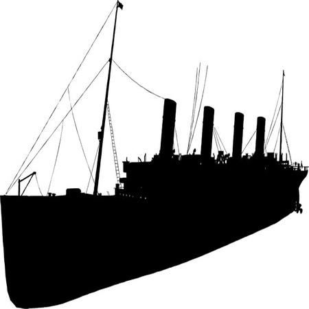 vecchia nave: vecchia nave sagoma set Vettoriali
