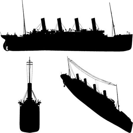 vecchia nave: vecchia nave set silhouette Vettoriali