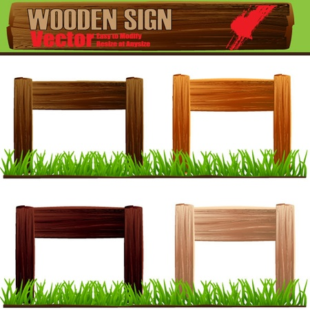 blank road sign: vector wooden sign set