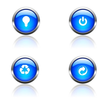 Blue Environment Button Set Vector